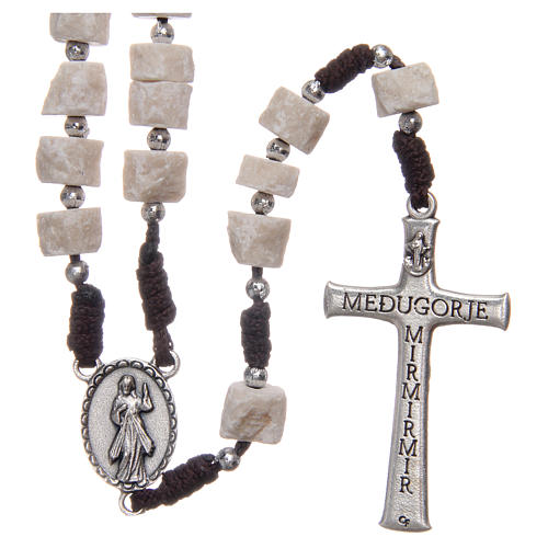Rosary in white Medjugorje stone with brown cord 2
