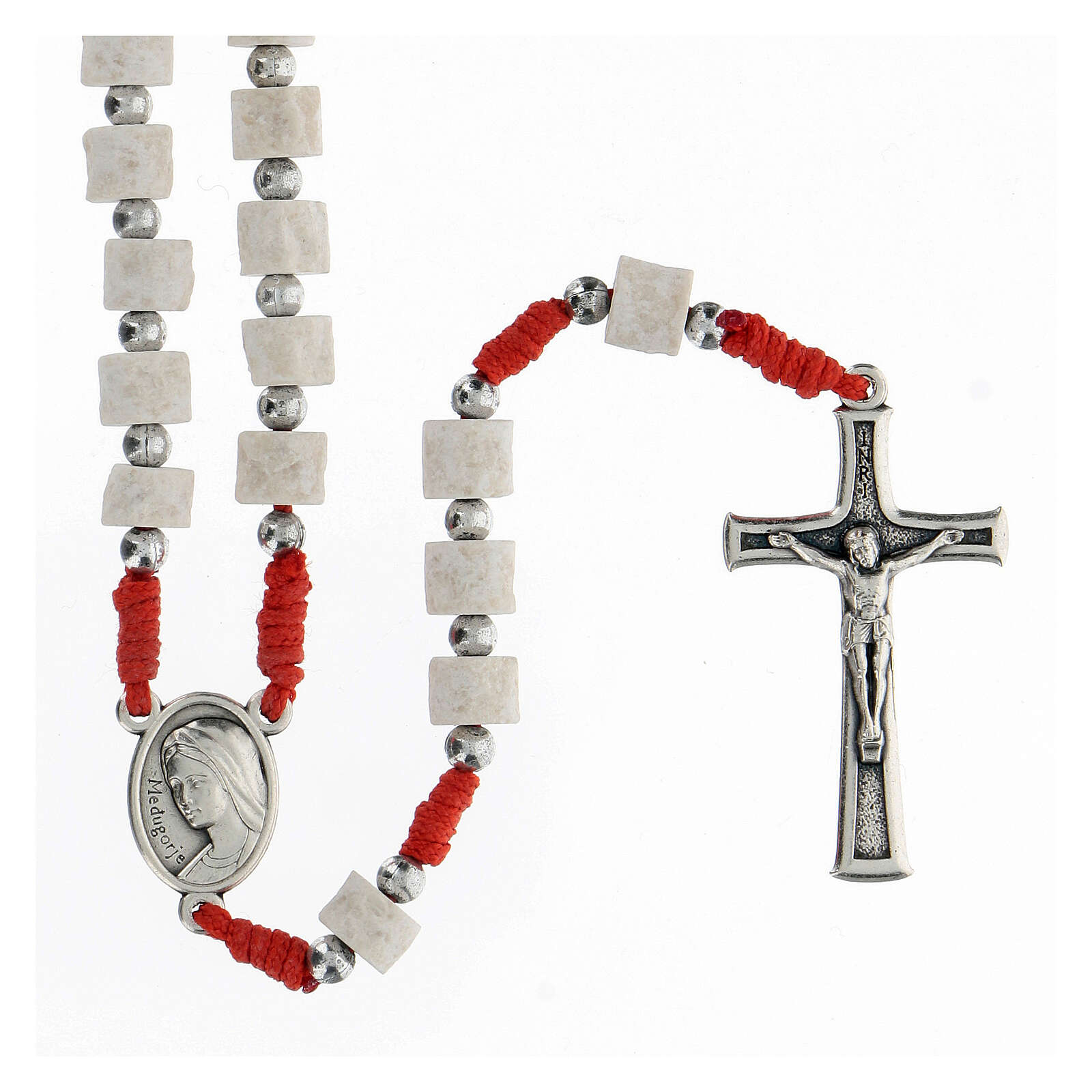 Rosary white Medjugorje stone, red rope 4