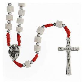 Rosary white Medjugorje stone, red rope s2
