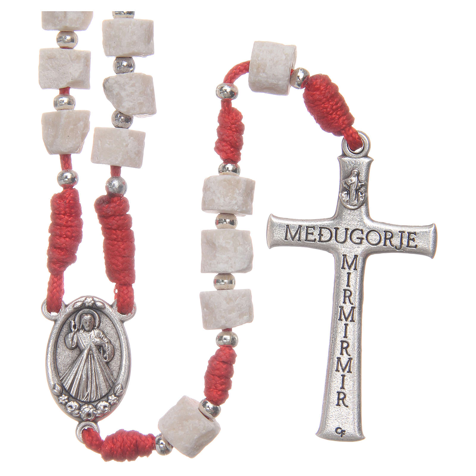 Rosario pietra bianca di Medjugorje con corda rossa 4