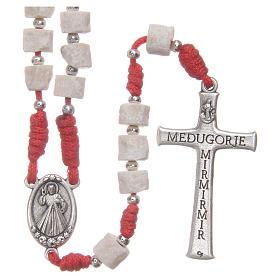 Rosario pietra bianca di Medjugorje con corda rossa s2