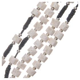 Rosario piedra blanca de Medjugorje cuerda negra s3