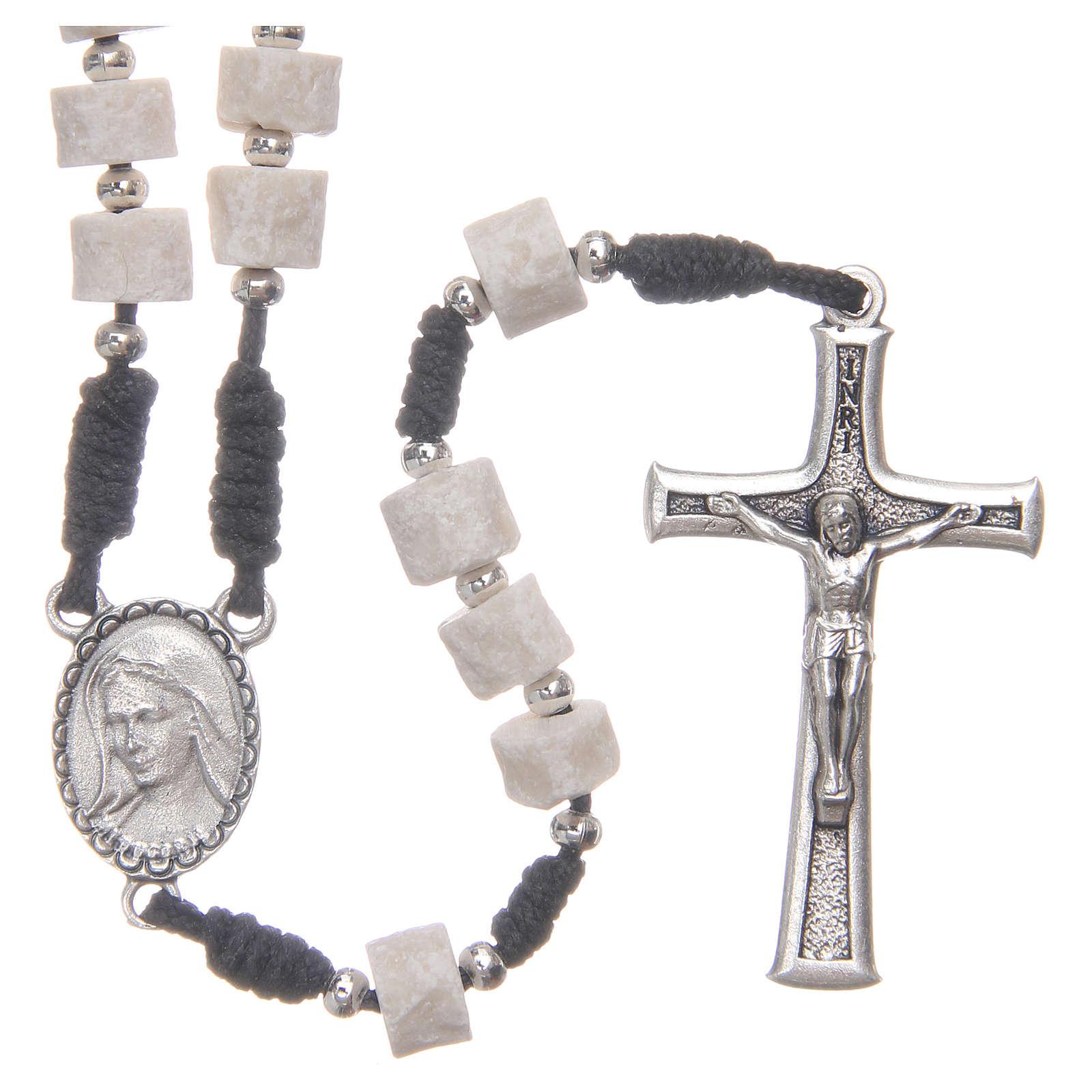 Rosario pietra bianca di Medjugorje con corda nera 4