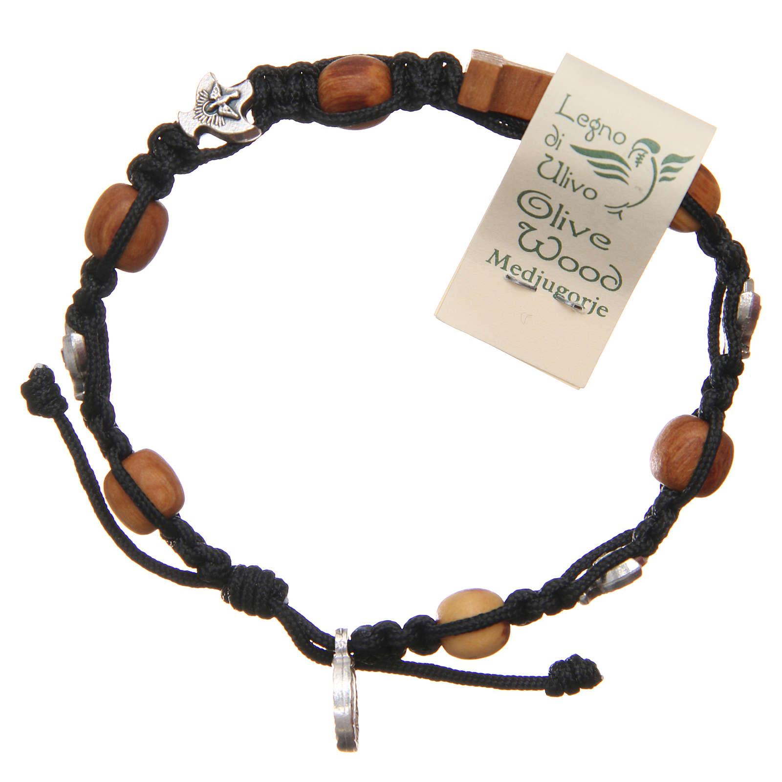 Olive wood bracelet Saint Benedict cross, 10mm beads 4