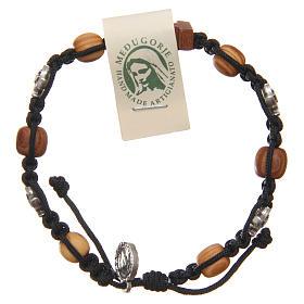 Olive wood bracelet Saint Benedict cross, 10mm beads s1