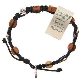 Olive wood bracelet Saint Benedict cross, 10mm beads s2