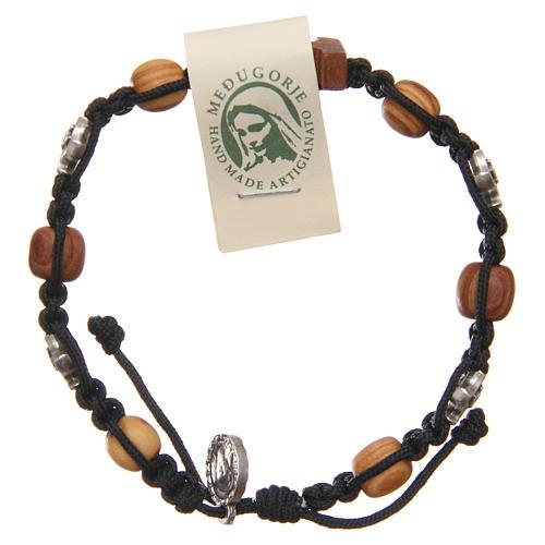 Olive wood bracelet Saint Benedict cross, 10mm beads 1