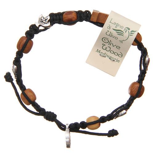Olive wood bracelet Saint Benedict cross, 10mm beads 2