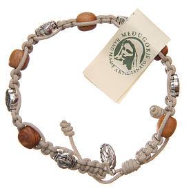 Bracelets, dizainiers: Bracelet bois d'olivier et croix Saint Benoît