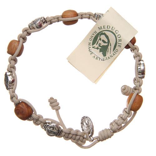 Bracelet bois d'olivier et croix Saint Benoît 1
