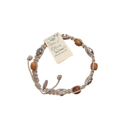 Bracelet bois d'olivier et croix Saint Benoît 2