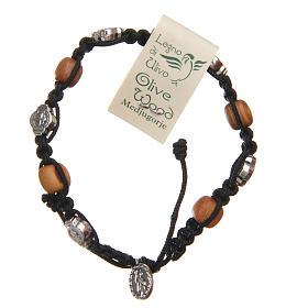 Bracelet bois d'olivier croix Saint Benoît corde noire s2