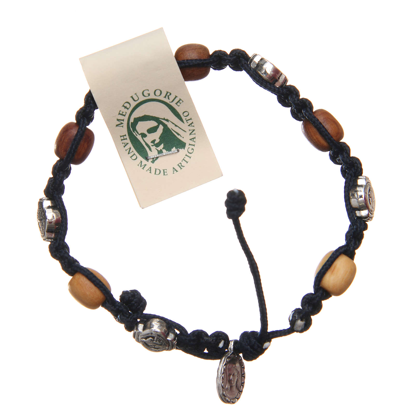 Pulsera madera olivo cruz San Benito cuerda azul oscuro 4