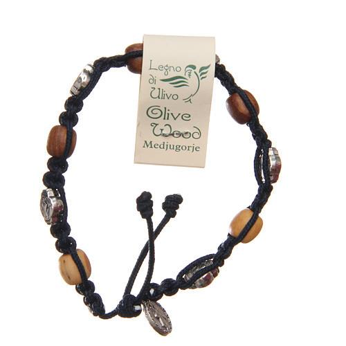 Pulsera madera olivo cruz San Benito cuerda azul oscuro 2