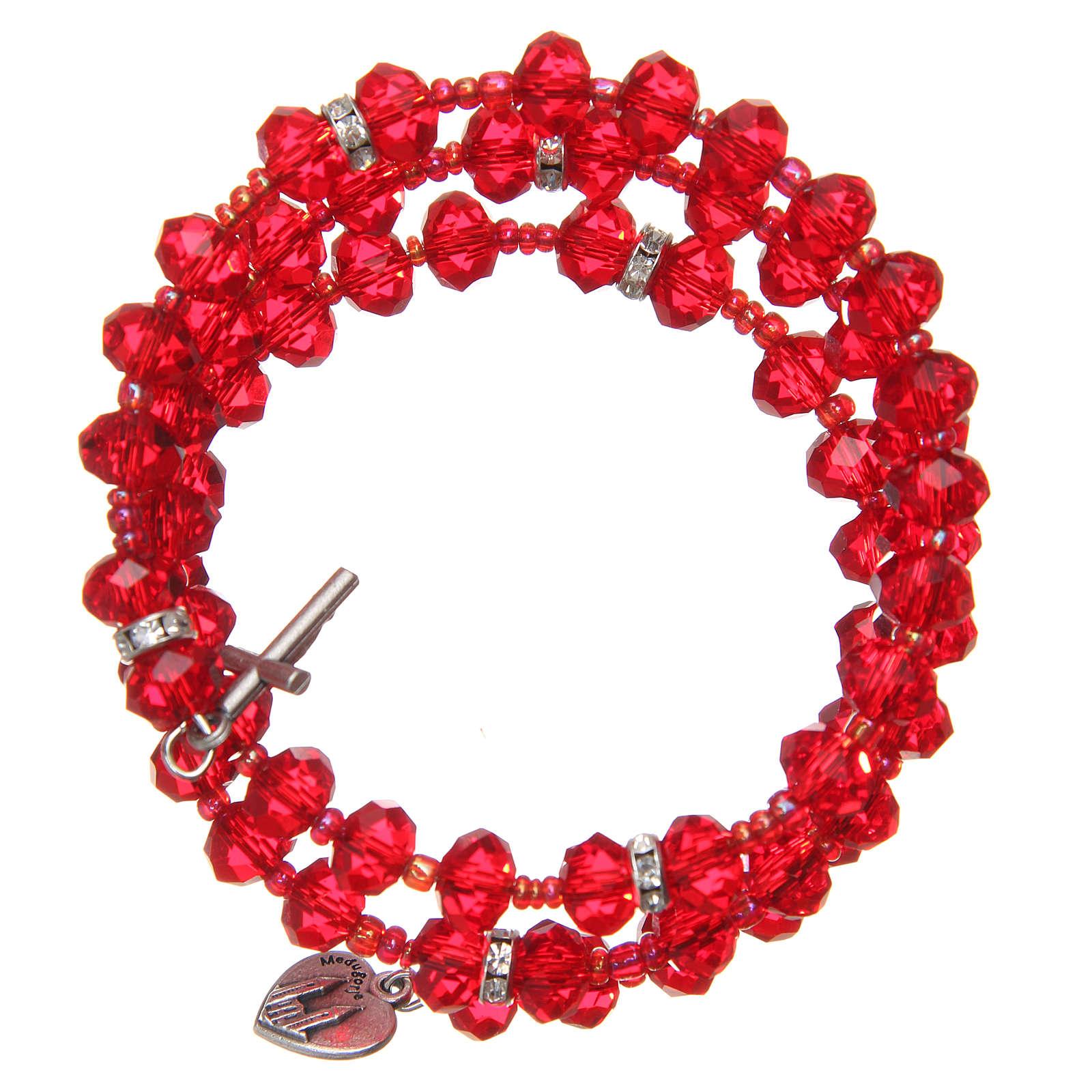 Pulsera muelle perlas rojas cruz Virgen Medjugorje 4