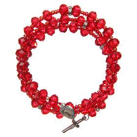 Bracelets, dizainiers: Bracelet à ressort perles rouges croix Notre-Dame Medjugorje