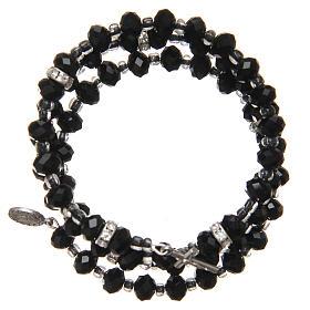 Bracelets, dizainiers: Bracelet à ressort perles noires croix Notre-Dame Medjugorje