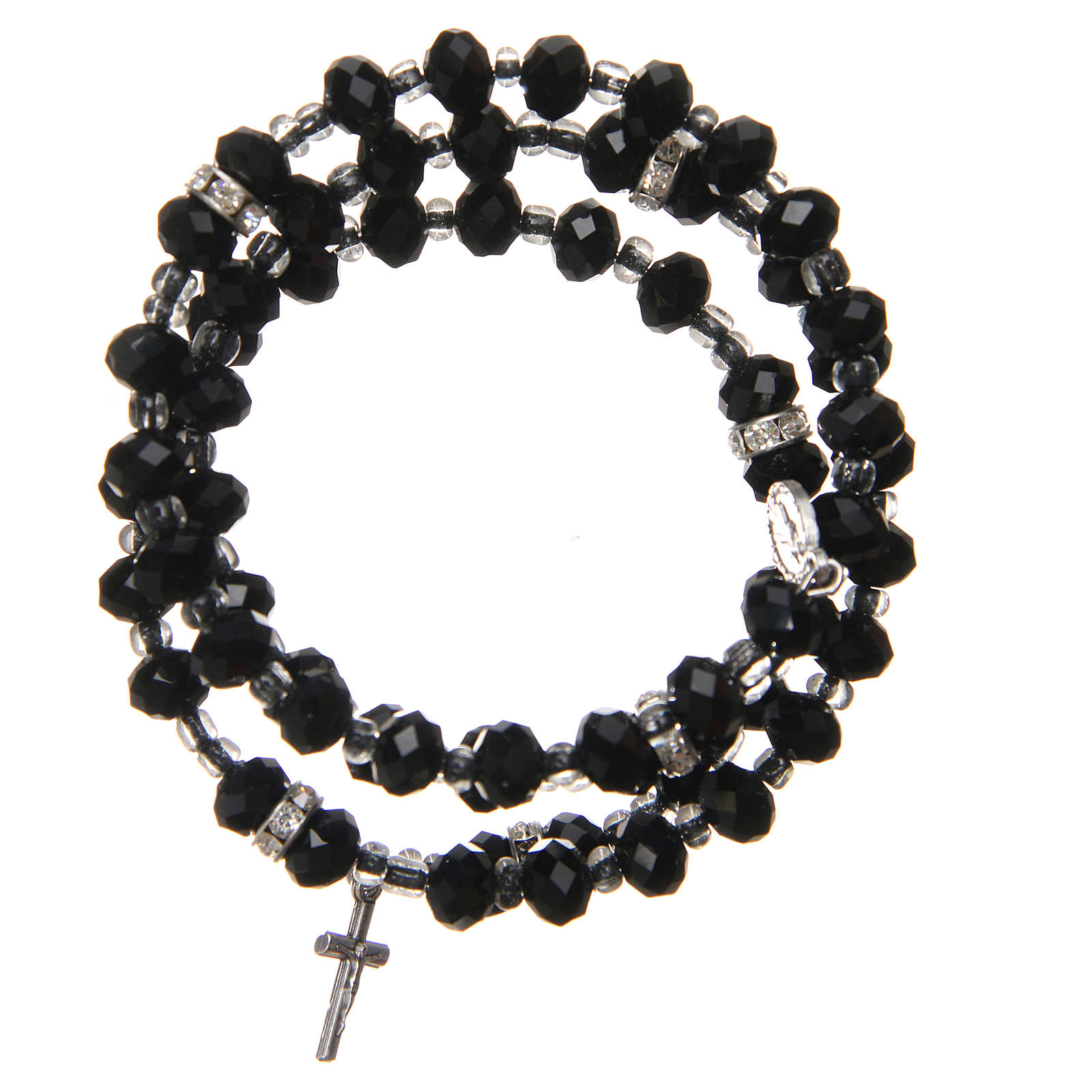 Braccialetto a molla perline nere croce Madonna Medjugorje 4