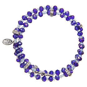 Pulsera muelle perlas moradas y azul cruz Virgen Medjugorje s2