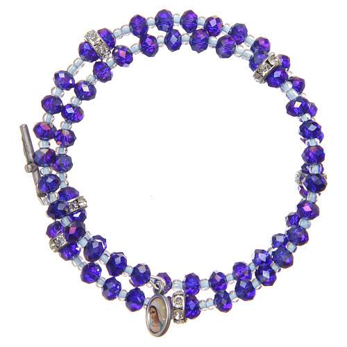 Pulsera muelle perlas moradas y azul cruz Virgen Medjugorje 1