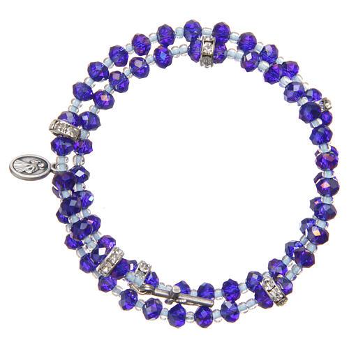 Pulsera muelle perlas moradas y azul cruz Virgen Medjugorje 2
