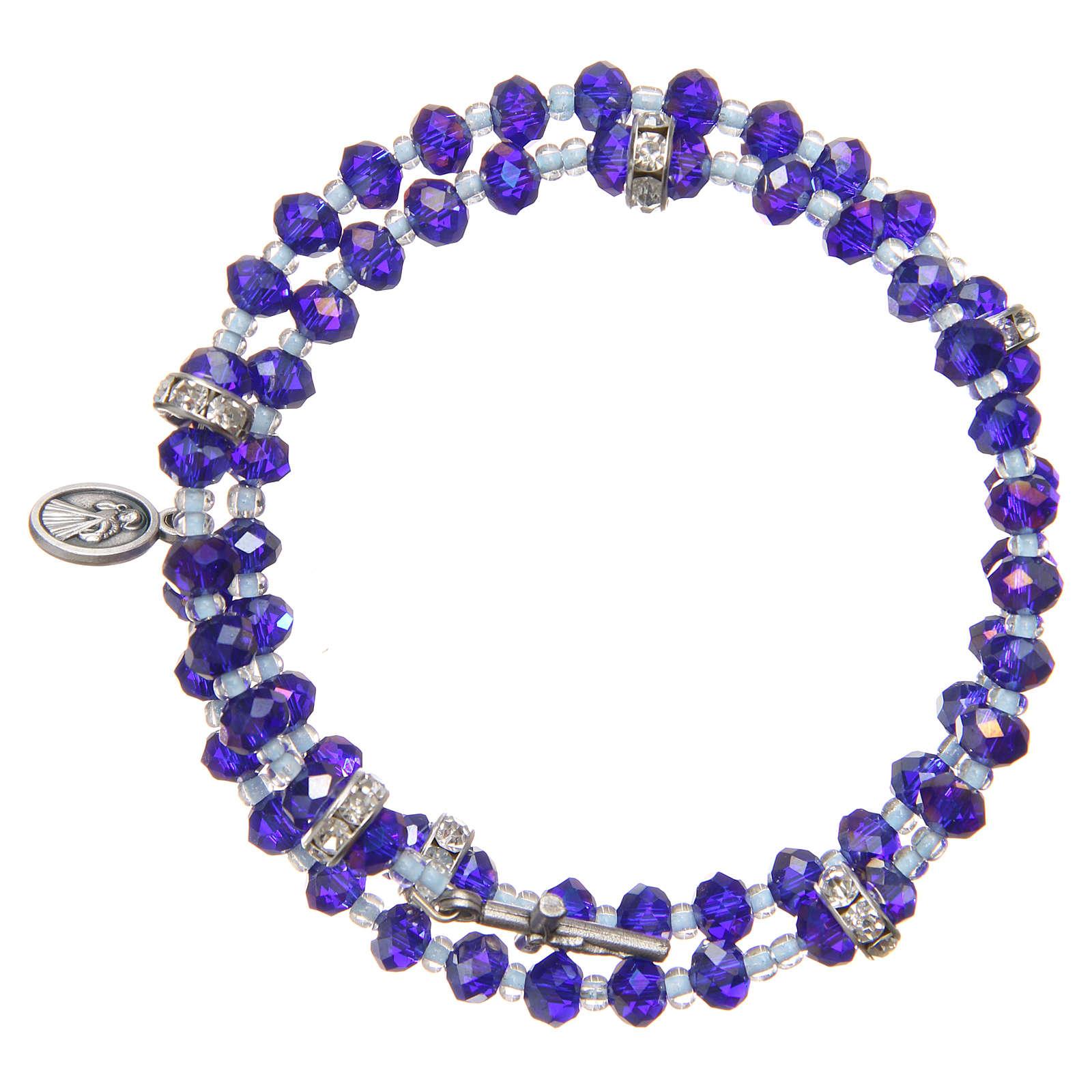 bracelet ressort perles violet bleu croix notre dame medjugorje vente en ligne sur holyart. Black Bedroom Furniture Sets. Home Design Ideas