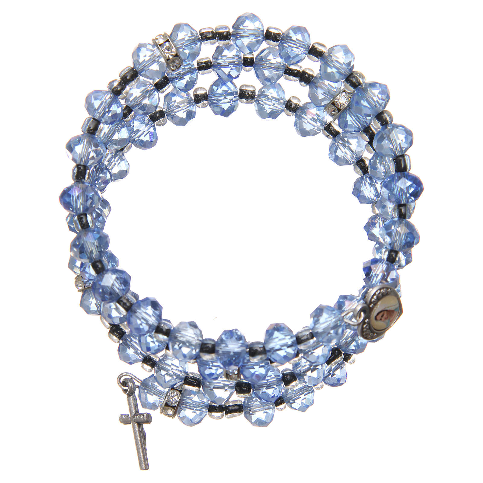 Pulsera muelle perlas azul claro cruz Virgen de Medjugorje 4