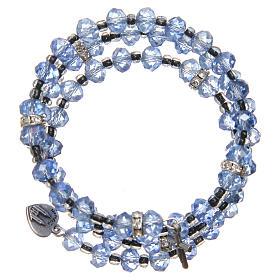Pulsera muelle perlas azul claro cruz Virgen de Medjugorje s2