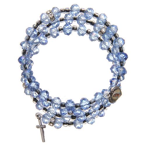 Pulsera muelle perlas azul claro cruz Virgen de Medjugorje 1