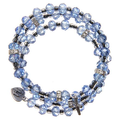 Pulsera muelle perlas azul claro cruz Virgen de Medjugorje 2