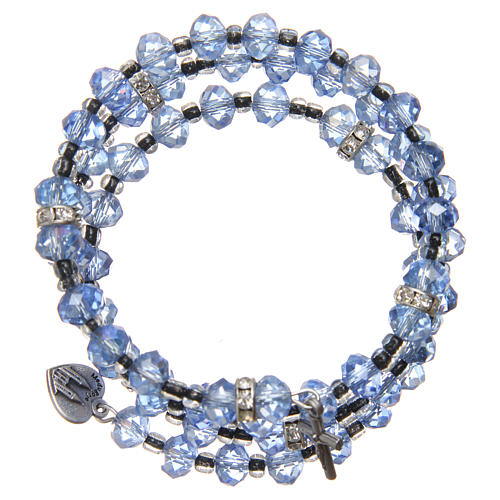 Bracelet à ressort perles bleu clair croix Notre-Dame Medjugorje 2