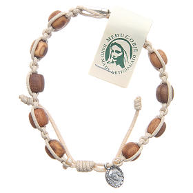 Bracelets, dizainiers: Bracelet grains olivier corde beige Medjugorje