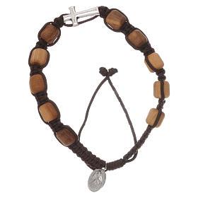 Bracelets, dizainiers: Bracelet grains olivier corde noir Medjugorje