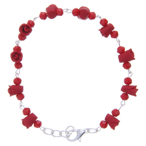 Medjugorje Rosary bracelet with red ceramic roses and grains in crystal 1