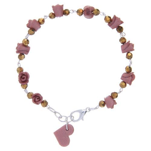 Pulsera Medjugorje rosas cerámica cuentas cristal 1