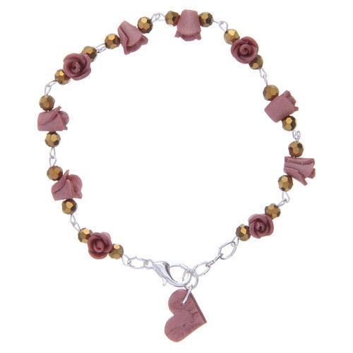Bracciale Medjugorje rose in ceramica grano in cristallo 2