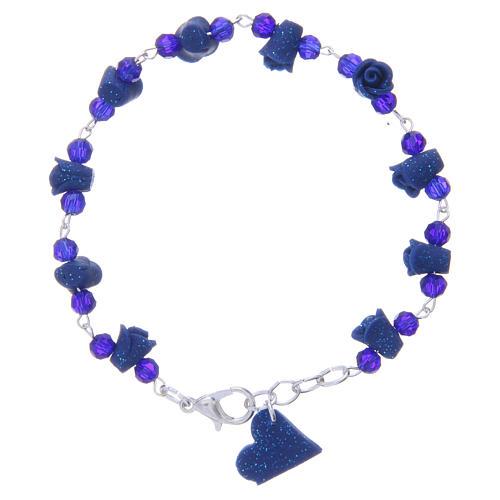 Bracciale Medjugorje blu grani cristallo rose ceramica 1