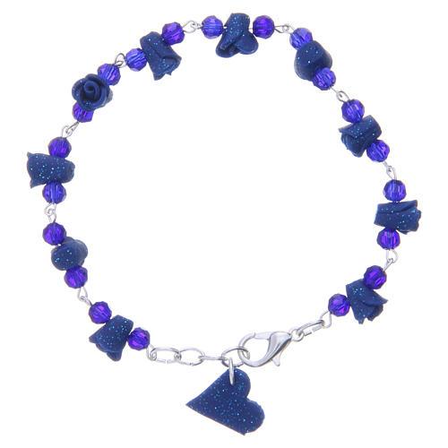Bracciale Medjugorje blu grani cristallo rose ceramica 2