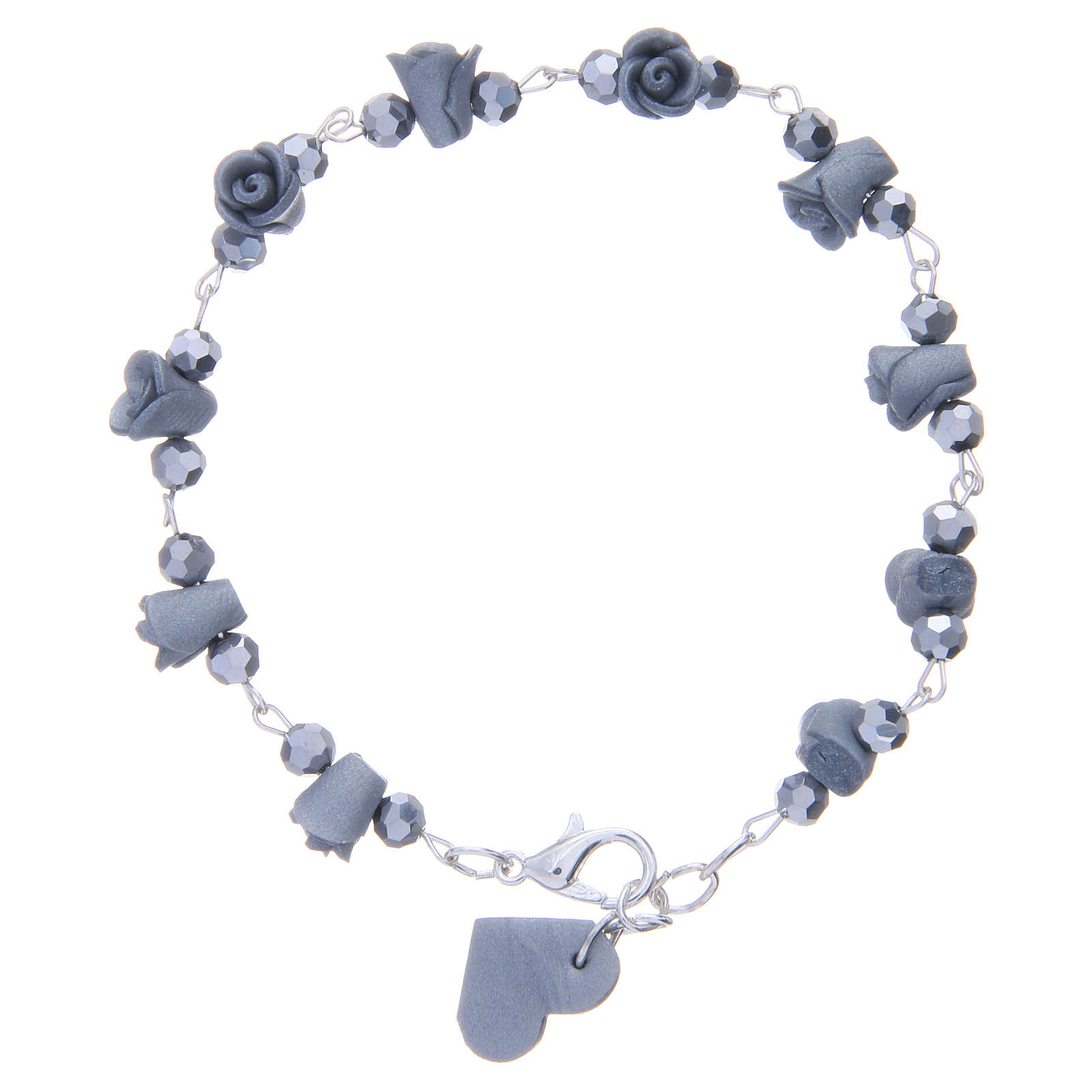 Medjugorje Rosary bracelet with grey ceramic roses and grains in crystal 4