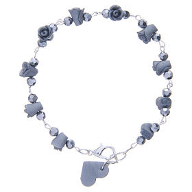 Medjugorje Rosary bracelet with grey ceramic roses and grains in crystal s2