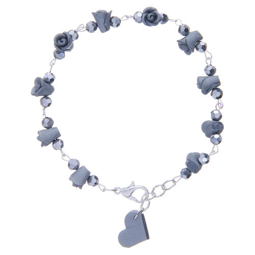Medjugorje Rosary bracelet with grey ceramic roses and grains in crystal 1