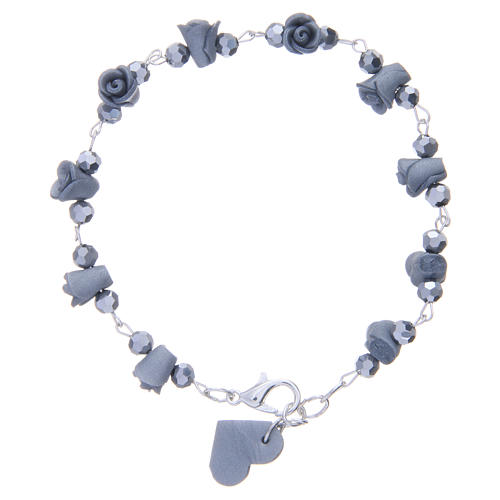 Medjugorje Rosary bracelet with grey ceramic roses and grains in crystal 2