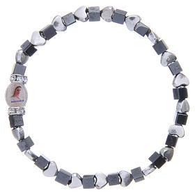 Medjugorje bracelet, black haematite with hearts s1