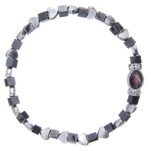 Medjugorje bracelet, black haematite with hearts 2