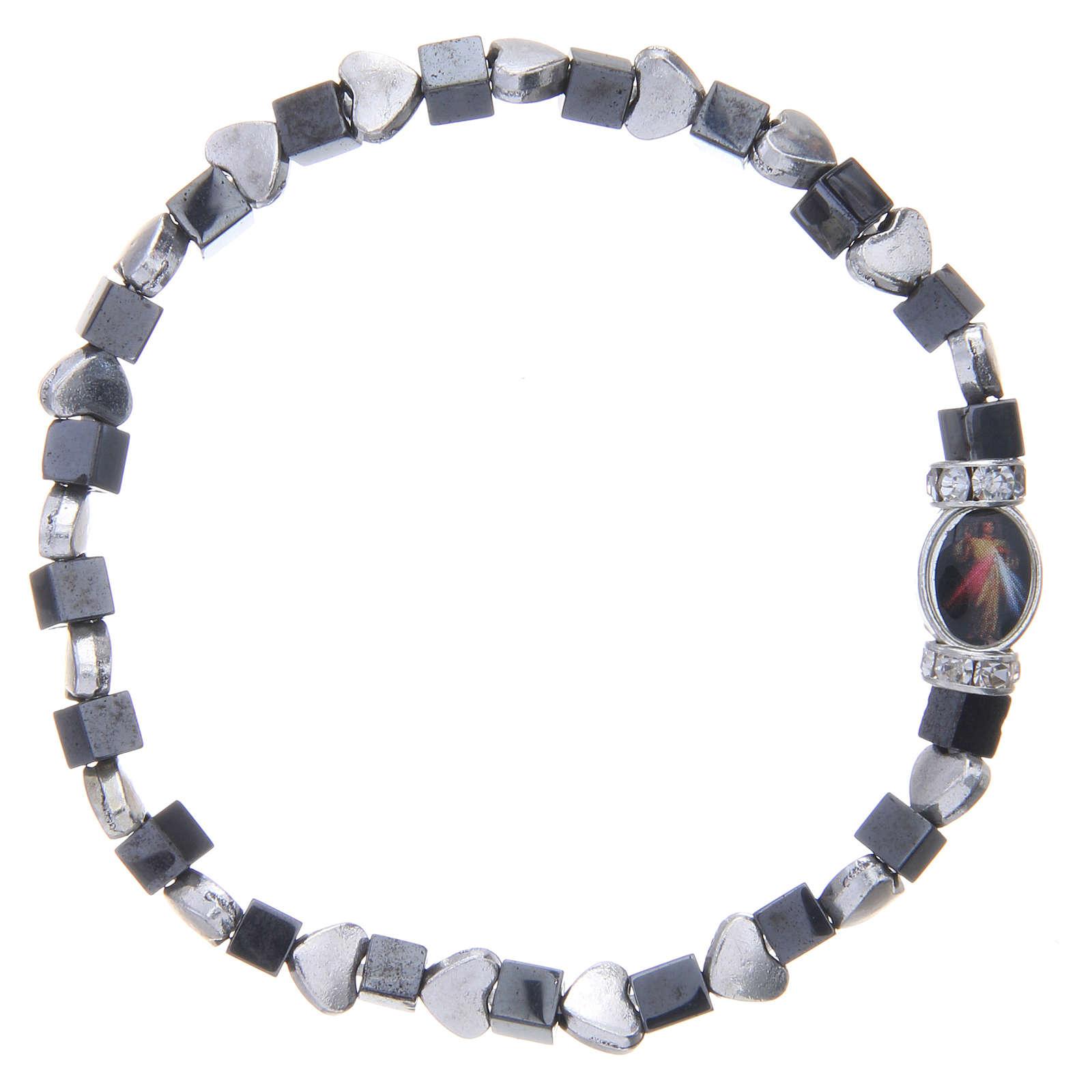 Bracelet Medjugorje hématite noire avec coeurs 4