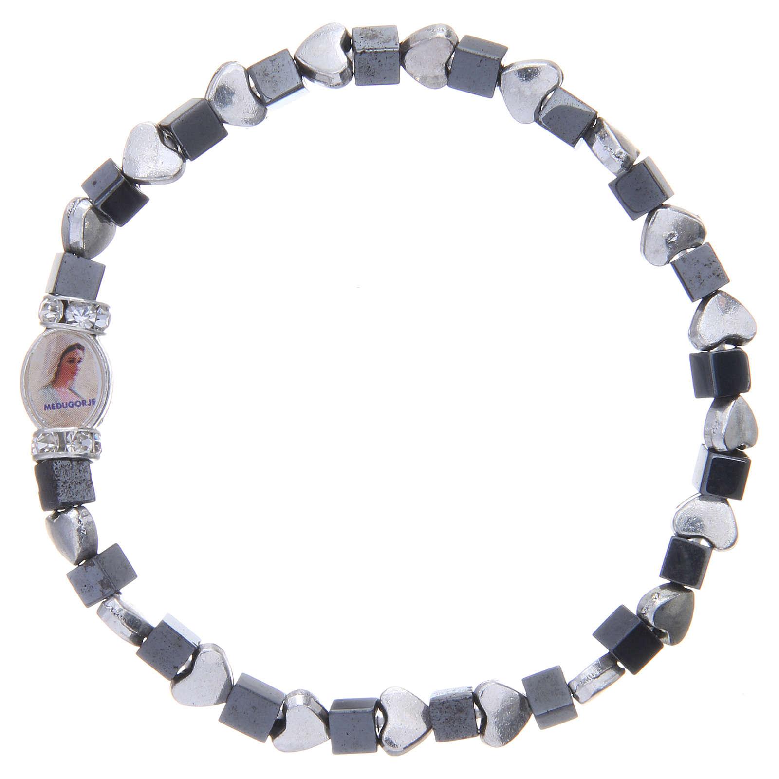 Medjugorje bracelet, black haematite with hearts 4