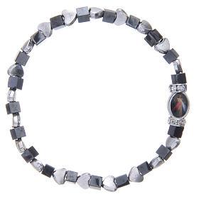 Medjugorje bracelet, black haematite with hearts s2