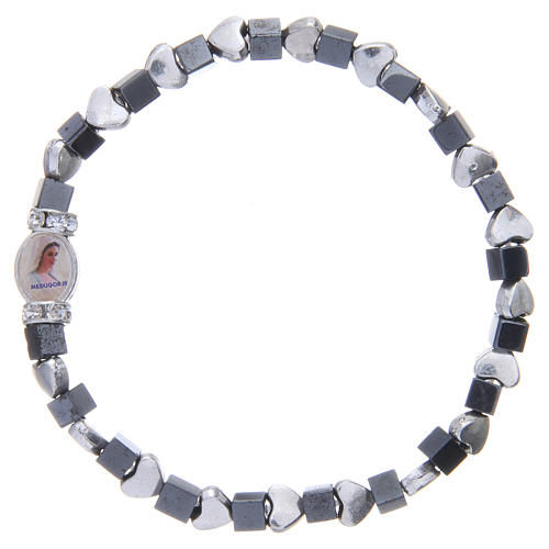 Medjugorje bracelet, black haematite with hearts 1