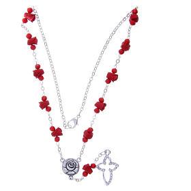 Collier chapelet Medjugorje rouge roses céramique grains cristal s3