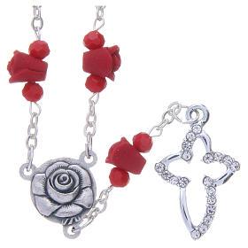Collana rosario Medjugorje rossa rose ceramica grani cristallo s1